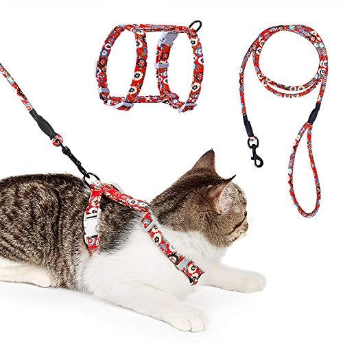 HAPPY HACHI Arnés para Gatos con Correa Nylon Chaleco Perrito Ajustable Prueba de Escape Liberación Rápida para Caminar (M, Rojo) ✅