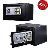 Schwarzer digitaler Sicherheitssafe, 8,5 l, für Schmuck, Zuhause, Hotel, Büro, solide...