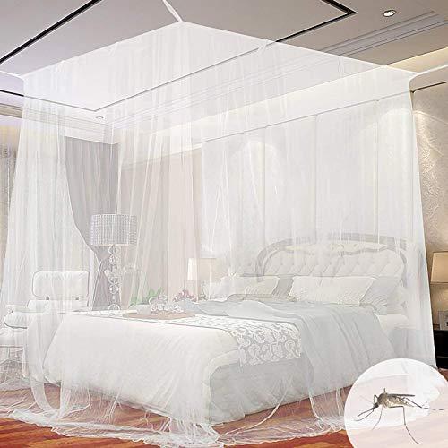 Moustiquaire de Lit Carrée, Moustiquaire Carrée Universelle, Adaptée à la Plupart des Types de Lits, pour se Protéger Efficacement des Moustiques- Blanc (200 * 200 * 180cm)