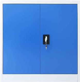 Festnight Armoire de Bureau métal Meubles de Rangement avec 2 Portes Gris et Bleu 90 x 40 x 90 cm (l x P x H)