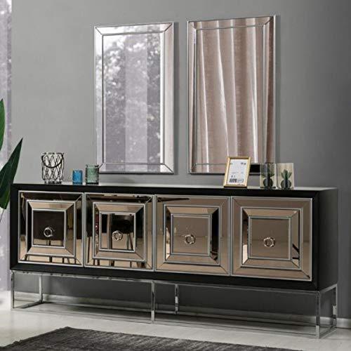 Casa Padrino Luxus Sideboard mit 4 verspiegelten Türen Schwarz/Silber 208 x 49 x H. 88 cm - Luxus Wohnzimmer Möbel