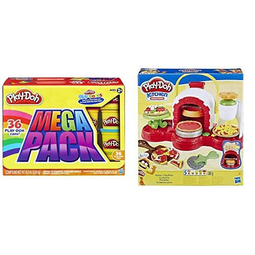 Hasbro Play-Doh- Play-Doh Mega Pack da 36 Vasetti, 36834F02 & Play-Doh Pizzeria (playset con 5 vasetti di Pasta da Modellare), Multicolore, E4576EU4