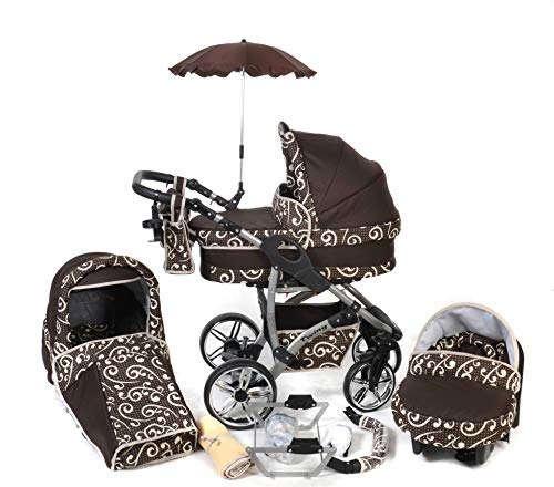 Twing, 3-in-1 Travel System with Baby Pram, Car Seat, Pushchair & Accessories (3in1 Travel System -Baby tub, Sport seat, Car seat, Brown & Wawy Lines).