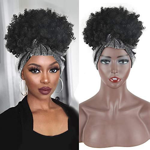Aisaide Head Wrap Wigs Kinky Curly Afro Wigs for Women 2 in 1 Short Headband Wig Natural Black Pineapple Turban Wigs with Hairband Curly Synthetic Headwrap Wigs with Grey Scarf