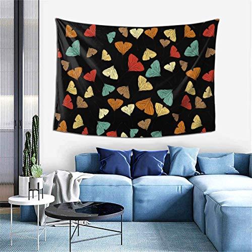 Tapiz para colgar en la pared, estilo boceto, tapices de patrón sin costuras con hojas de Ginko Biloba para dormitorio, sala de estar, dormitorio, manta de pared, toallas de playa, decoración del hoga