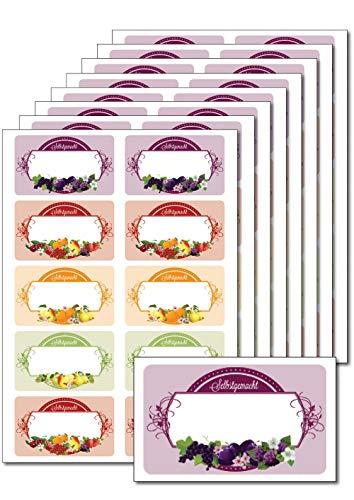 80 ablösbare Etiketten selbstklebend 'Früchteetikett selbstgemacht' bedruckbar für Einmachgläser