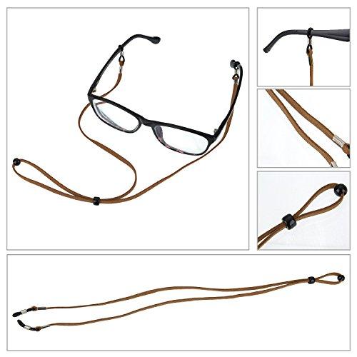 Eyeglass Strap PU Leather Eyeglass Strap Eyeglass Cords Retainer, 3 Pieces
