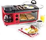 Gpzj Horno Conveccion Máquina de Desayuno multifunción, tostadora y cafetera, Desayuno de Tortilla de Horno de café Completamente automático 6 Veces la Temperatura, 1500 W
