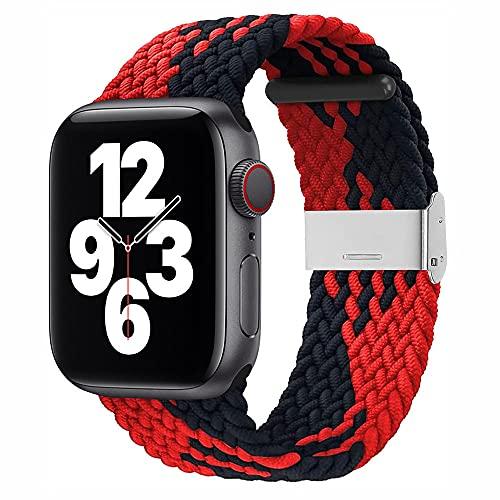 Sresrrw Pulseira loop solo trançada para Apple Watch Band 44mm 42mm Pulseiras de Reposição para Smartwatches Correia tecida extensível ajustável para iWatch Series 6/5/4/3/2/1/SE (Preto Vermelho, 42mm/44mm)