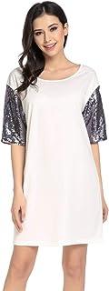 Chigant Keliqq Women's Sequins Short Sleeve Crew Neck Casual Summer T-Shirt Dress White