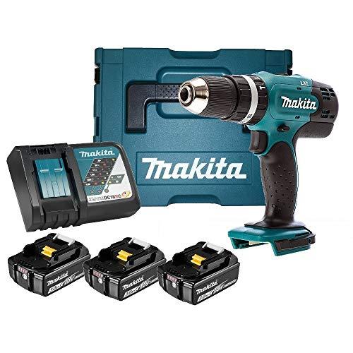 Makita DHP453RF3J Perceuse visseuse percussion + 3 batteries 18V 3Ah + coffret Makpac Bleu