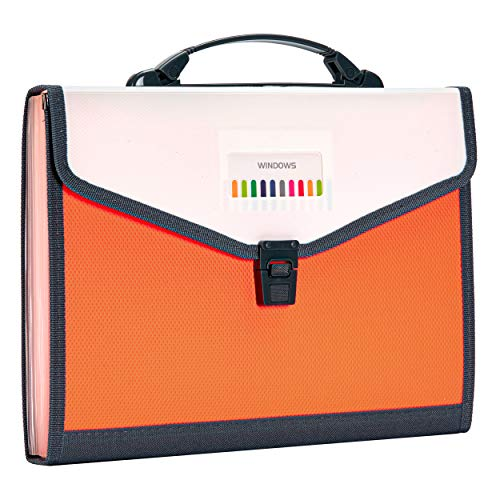 FANWU 13 Pockets Expanding File Folder Accordion File with Handle & Buckle - Letter A4 Paper Size - Expandable Plastic File Folder Monthly Portable Document Organizer for Home School Office (Orange)