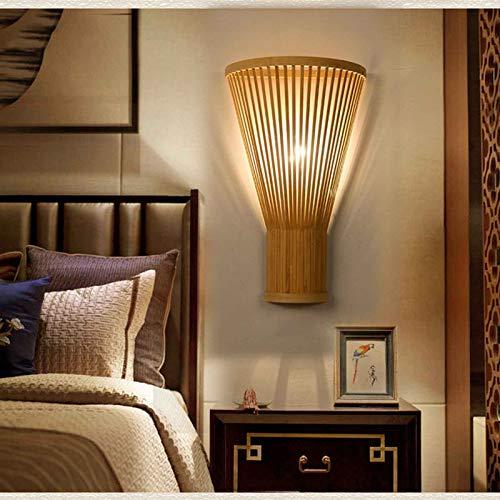 LANMOU Aplique de Pared de Bambú Mimbre Rattan Lámpara de Pared Rústico Creativo E27 Lámpara de Cabecera Decoración Interior para Dormitorio Corredor Escalera Pasillo (Sin Bombilla)