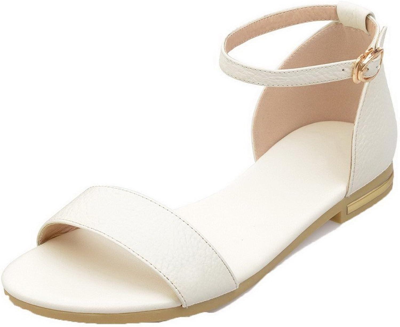 AllhqFashion Women's Open Toe Low-Heels Pu Solid Sandals, FBULC012323