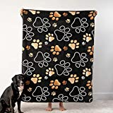 iHeartDogs Dog Blanket - Mocha Paw Prints Ultra-Soft Fleece Blanket - Buy One, We Give One to a Shelter Dog in Need - 60″ x 50″