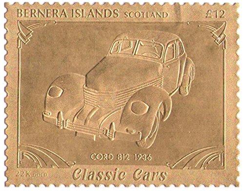 Isole Bernera Scotland : Veicoli d'epoca - CORD 812 1936 / foglia oro bollo/perforato Valore nominale £ 12/1987 / Bernera/MNH