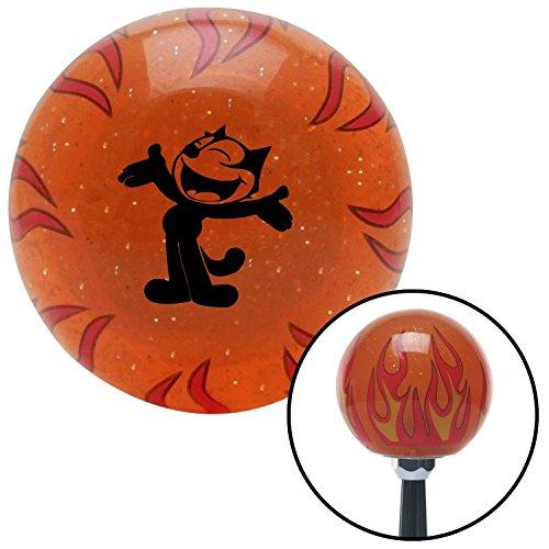 American Shifter 258854 Orange Flame Metal Flake Shift Knob with M16 x 1.5 Insert (Black Felix The Cat Classic)