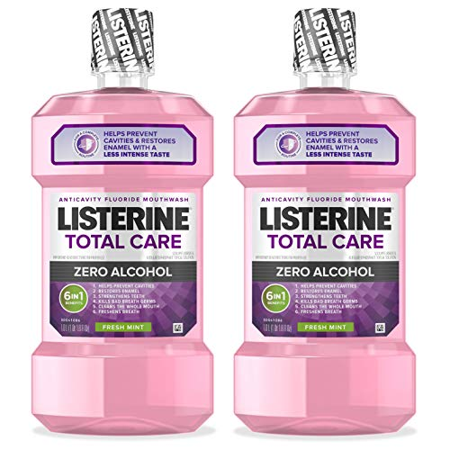 Price comparison product image Listerine Total Care Alcohol-Free Anticavity Mouthwash,  6 Benefit Fluoride Mouthwash for Bad Breath and Enamel Strength,  Fresh Mint Flavor,  1 L (Pack of 2)