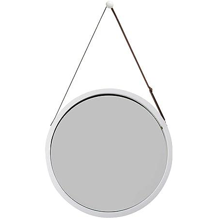 T/ürspiegel Ankleidespiegel mit Verstellbarer Lederg/ürtel 74x43cm Wei/ß ZRI Bamboo Ganzk/örperspiegel Badspiegel Wandspiegel Gro/ß Garderobenspiegel