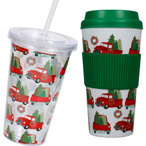 Tumbler - Plastic Cups (2 Pc) 16-oz Double-Walled Red Truck Christmas Tree Snowman Set - Drinking Glasses - Tumblers with Lids and Straws - Coffee Mug