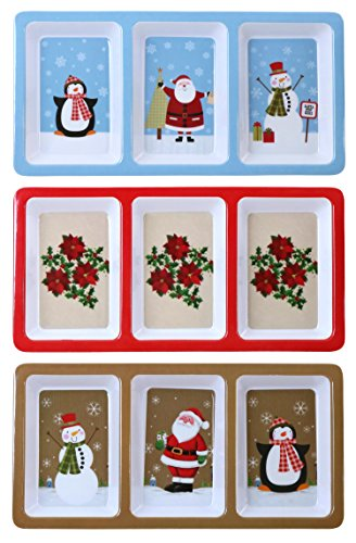 Iconikal Melamine 3 Section Tray For Hors D'oeuvres, Christmas Theme, 12 x 6 Inch, 3 Trays