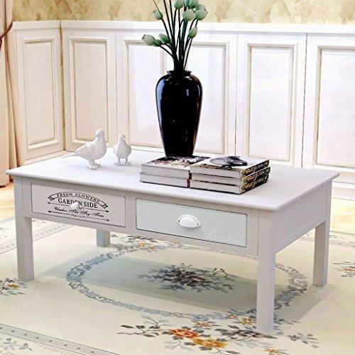 Luckyfu Questo Tavolino da Caffsono Francese Shabby Chich in Legno.Design Unico e Moderno.Dimensioni del cassetto Laterale: 39 x 46,5 x 11,5 cm (L x P x A).Tavolo da Caffe tavolino Basso