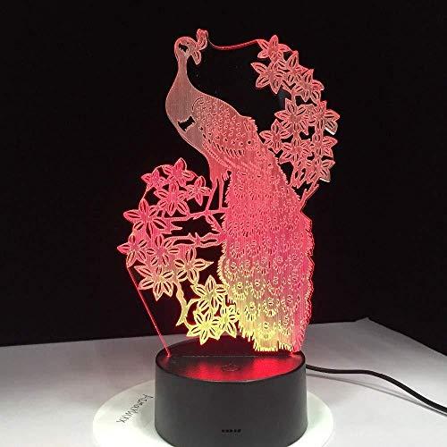 Nieuwe aanbieding elegante pauw 3D nachtlampje USB touch bureaulamp kinderen geschenk optische folie lamp bedlampje