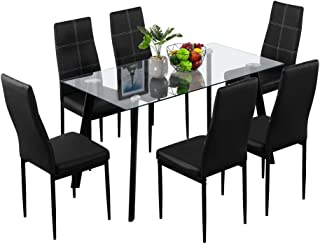 Bonnlo Dining Table with Chairs 7-Piece Kitchen Dining Set Glass Dining Table Set with Upholstered Dining Chairs,Clear&Black