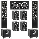 Elac 7.2 System with 2 Debut F5 Floorstanding Speakers, 1 Debut C5 Center Speaker, 4 Debut B5 Bookshelf Speakers, 2 Debut S10 Subwoofer