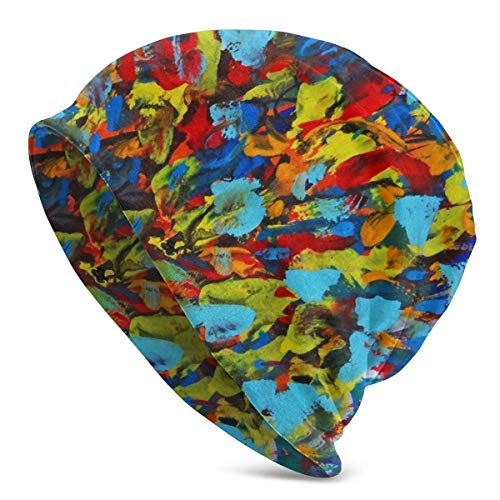 FETEAM Gorro Slouch Beanie, Transpirable, Ligero, Elástico, Suave Gorra de Calavera Pintura de Color abstractogramo