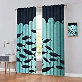 Cortinas de desgaste oriental-koi-Fish-Floral-Arrangement-Petals-and-Leaves-Doodle-Style-Animal Royal-Blue-Aqua-Naranja Ideal para salas de estar y dormitorios, juego de 2 paneles, patrón 13, W62'x...