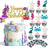 Bestus Mermaid Cake Topper, Cupcake Toppers + Wrappers 49pcs Kit | Cake Decoration Set for Little Mermaid Party Theme, Baby Shower, Girls Birthday | Mermaid Party Supplies