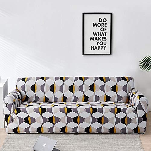 Funda de Sofá 1 Plazas Funda de Sofá Antideslizante con Diseño Elegante Universal Gris Amarillo Funda Sofá Elástica Antideslizante Protector Cubierta de Muebles
