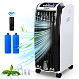 COSTWAY Evaporative Cooler, 4-in-1 Cooling, Fan, Humidifier and Anion, with 3 Wind Modes, 3 Speeds, 6.5H Timer, Portable air Cooler with Remote, Built-in Handle, 4 Wheels for Home, Office