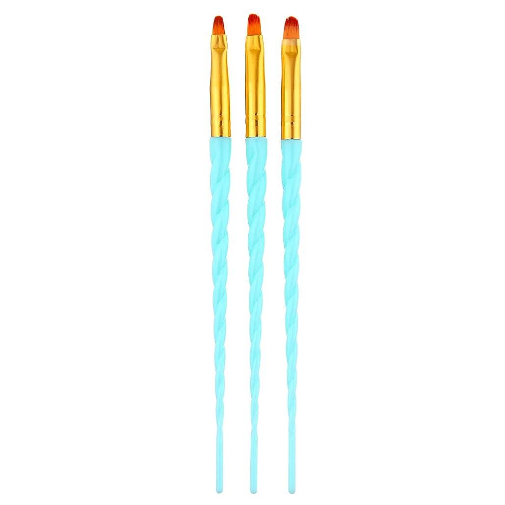 重くする途方もない発見するCUHAWUDBA 3ピース/セット、ネイルアート、スレッド、アクリルuvジェルの延長ビルダー、絵画ブラシのパターンのデザイン、描画用ペン、マニキュアツール、ブルー