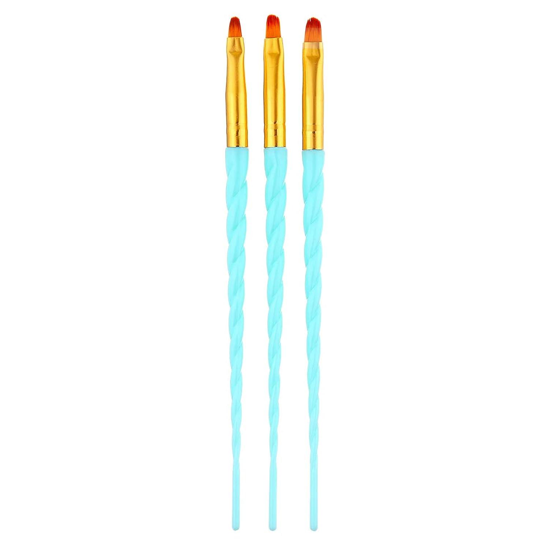 不完全評決大砲CUHAWUDBA 3ピース/セット、ネイルアート、スレッド、アクリルuvジェルの延長ビルダー、絵画ブラシのパターンのデザイン、描画用ペン、マニキュアツール、ブルー