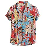 Mens Vintage Shirt Breathable Colorful Printing Loose Turn Down Collar Short Sleeve Ethnic Style Beach Party Tops Red