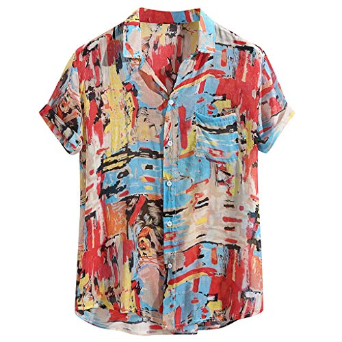 Yowablo Herren Vintage Print Baumwolle Leinen Kurzarm Hawaii Henley Kragen Shirt Top (M,20Rot)