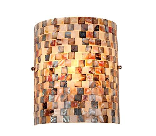 """Chloe Lighting CH3CD28BC08-WS1 Shelley Mosaic 1-Light Wall Sconce, 9.8 x 8.3 x 4.1"""", Black"""