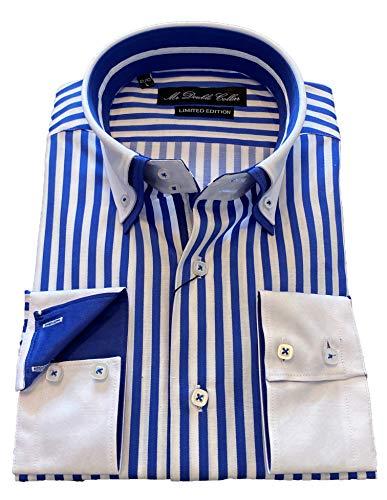 MrDoubleCollar Herren-Hemd, elegant, lässig, formell, Doppelkragen, Langarm Gr. L, Blaue Nadelstreifen