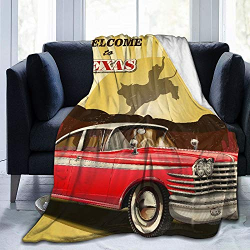 Minalo Throw Blanket Lightweight Soft Warm,Signboard Poster With Cadillac Car Cowboys,Microfiber All Season Living Room/Bedroom/Sofa Couch Bed Flannel Quilt,40' x 50'