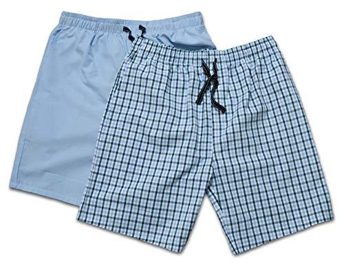 Moonline - Herren Webhose kurz als Freizeithose und Loungehose - 2 Stück im Pack, Farbe:blau/hell blau, Größe:54/56