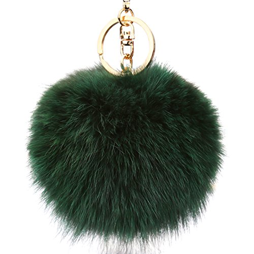 URSFUR Authentic Fox Fur Ball Pom Keychain Car Bag Charm Pendant Novelty Key Chain Ring Handbag Tassel Tag Toy Gift