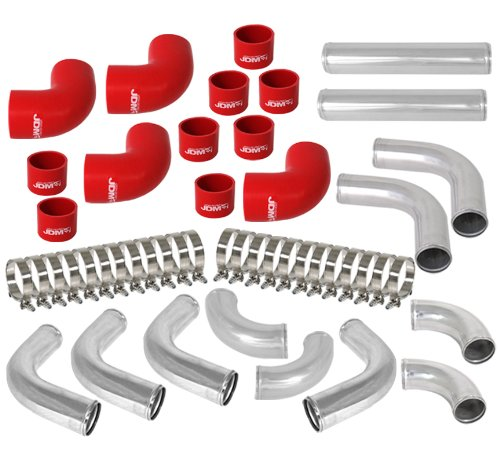 AJP Distributors Universal 12 Piece 2.5' DIY Aluminum FMIC Intercooler Piping Polished U-Pipe Kit with Red Couplers