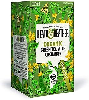 Heath & Heather Té Verde y Pepino Orgánico, 40g, caja de 20 sobres