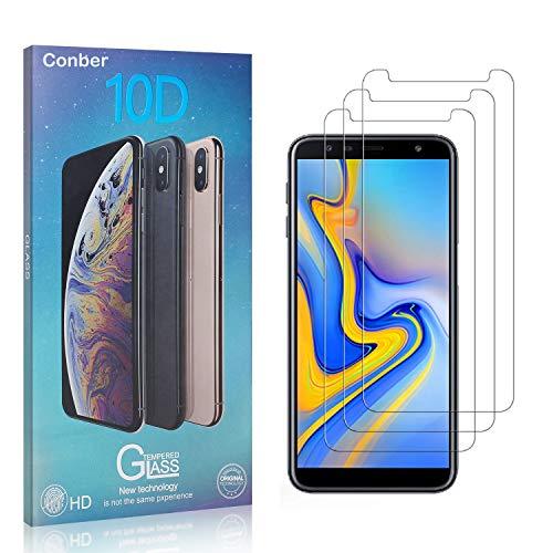Conber [3 Pièces] Verre Trempé pour Samsung Galaxy J6 Plus, Dureté 9H vitre de Protection, Compatible avec Coques, Film Protection Ecran pour Samsung Galaxy J6 Plus