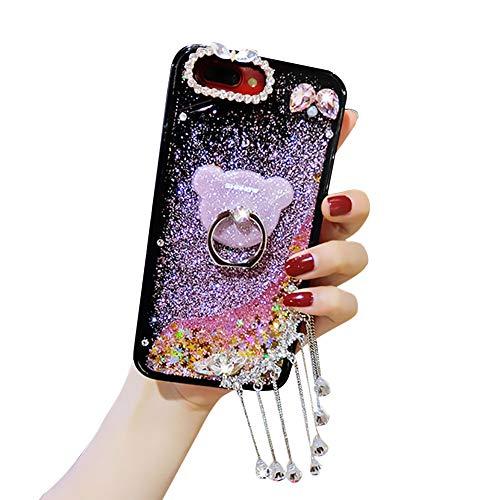 Samsung Galaxy Note 8 Étui Brillant pour Téléphone Portable Quicksand,YiCTe shiny superbe pierre Gemme Coque avec Verre Trempé, Fille Personnalisé Liquide Paillettes Étui, Ours Support,Girlish Pink