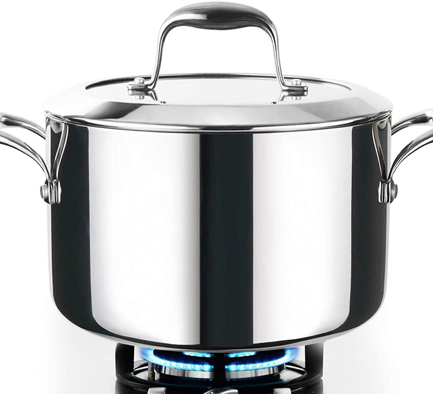 HOMI CHEF Mirror Polished NICKEL FREE Stainless Steel 6 QT(Quart) Stock Pot Soup Pot with Glass Lid (No Toxic Non Stick Coating, Whole-Clad 3-Ply) - Cookware Pots And Pans Sets 10121