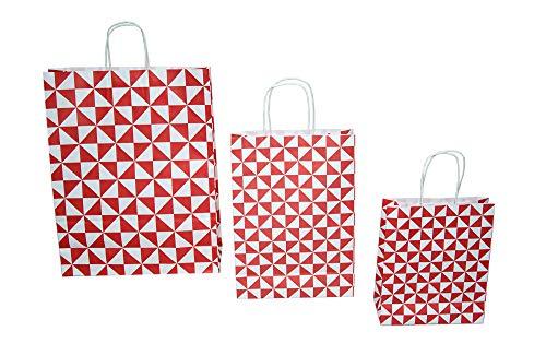 Dila GmbH 300 Papiertragetaschen Trigon in Weiß/Rot   Papiertaschen Tragetaschen Kordeltragetasche Tüten Papiertüten recycelbar (18 x 8 x 22 cm) 17591