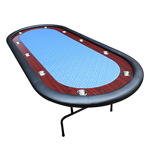 IDS Online 10 Players Texas Hold'em Poker Table, Blue, 96